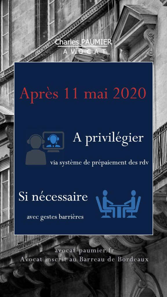 Charles Paumier Avocat repris 11 mai 2020 covid